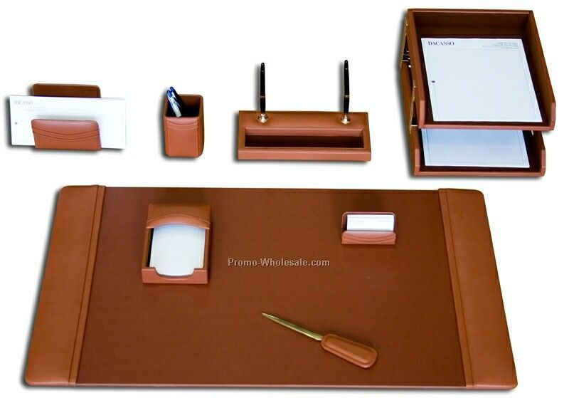 10-piece Classic Leather Desk Set - Tan