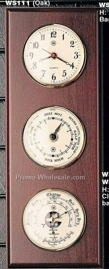 "16""x6""x2"" Brass Time & Tide Clock/Barometer/Thermometer On Oak"
