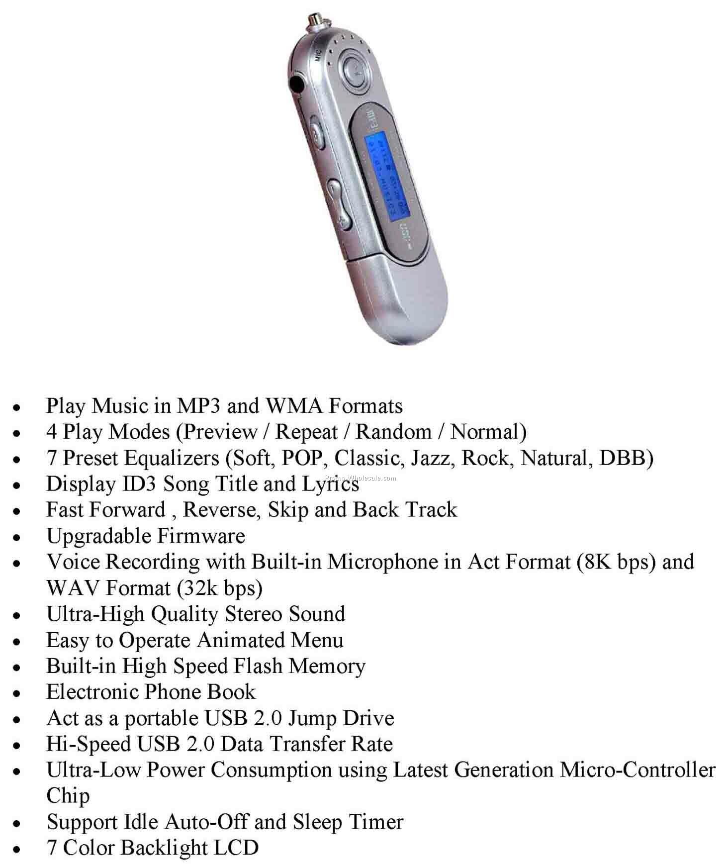 2 Gb Memory Mp3 Player, Flash Drive, Voice Recorder