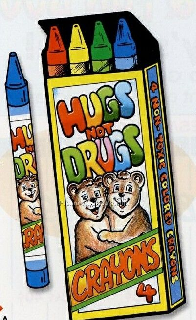4 Crayons In Stock Hugs Not Drugs Box