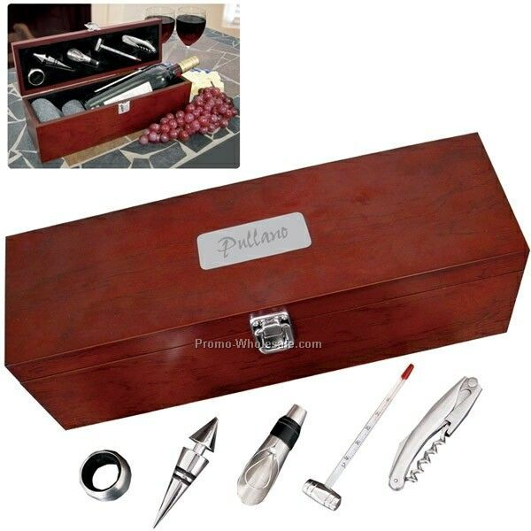 5 Piece Rosewood Wine Kit (Imprinted)