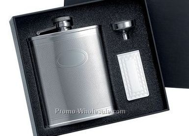 6 Oz Stainless Steel Flask W/Front Oval Panel And Matching Money Clip With