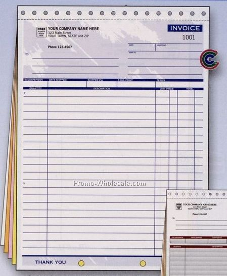 "8-1/2""x11"" 2 Part Color Collection Large Invoice"