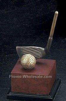 "8-1/4"" The Club Trophy Golf Classic Sculpture With Burl Wood Wood Base"