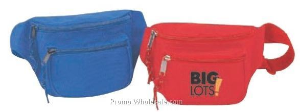"8""x4""x3"" 3 Zipper Fanny Pack With Adjustable Strap"