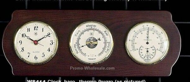 Brass Clock/Tide Clock/Barometer/Thermometer On Ash Wood Base