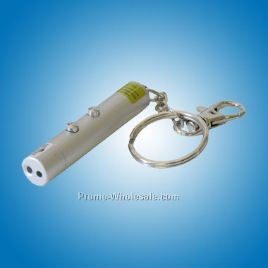 Chrome / Matte Silver Laser Pointer Key Holder (Engraved)