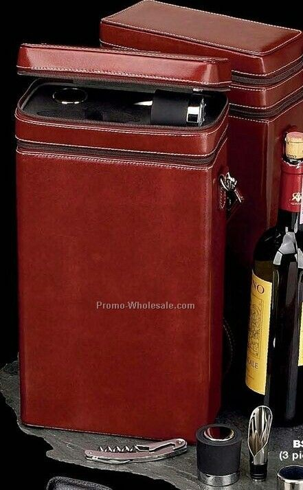 Cognac Leather Case Wine Caddy For 2 Bottles