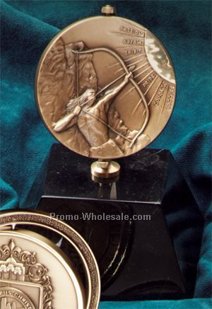 "Half Moon Brass Spinners For 2-3/4"" Medals With Marble Base"