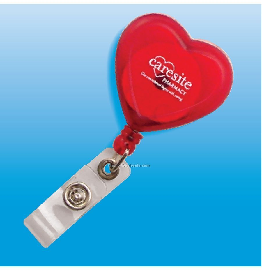 Heart Badge Holder W/ Retractable Cord