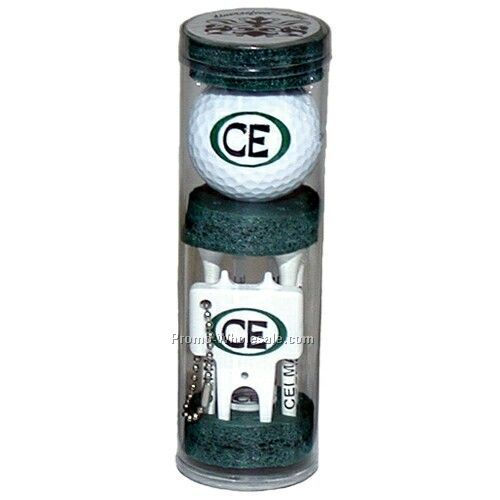 Long Golf Tee Combo Pack In Tubes (6 Tee/ Ball/ Marker/ Plastic Divot Tool)