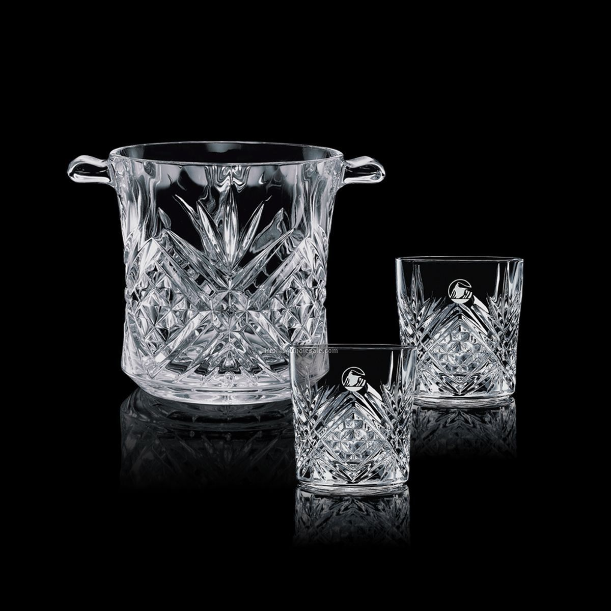 Milford Crystal Ice Bucket & 2 On-the-rocks Glasses