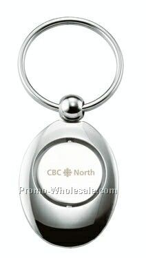 Oval Chrome Key Ring W/ Revolving Center