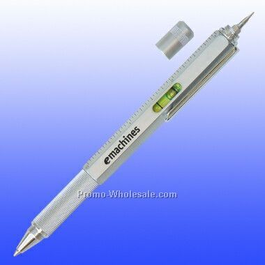 Pen W/ Mini Screw Drivers, Leveler, Ruler (Screened)