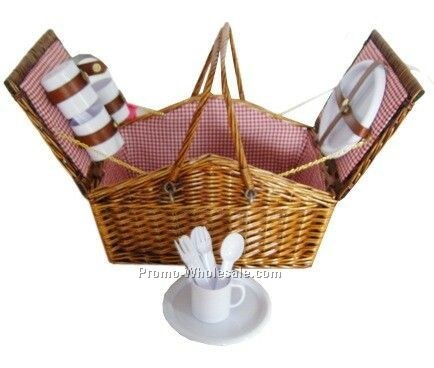 Picnic Basket With Plates, Glasses And Silverware