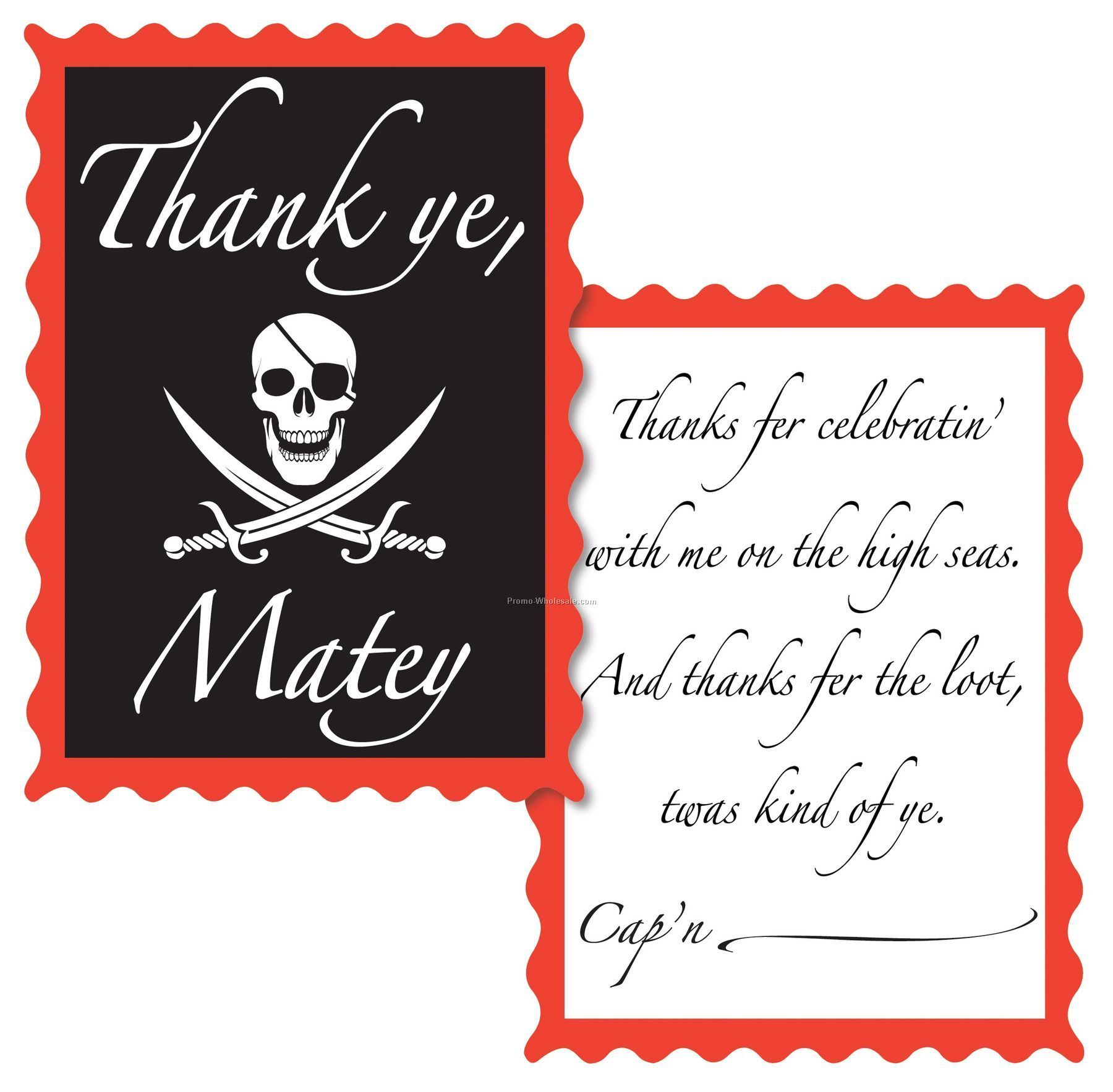 Pirate Theme Decoration Accessory - Thank You Notes