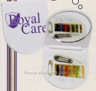 Plastic Pocket Sewing Kit W/ Flip Top Lid & Mirror