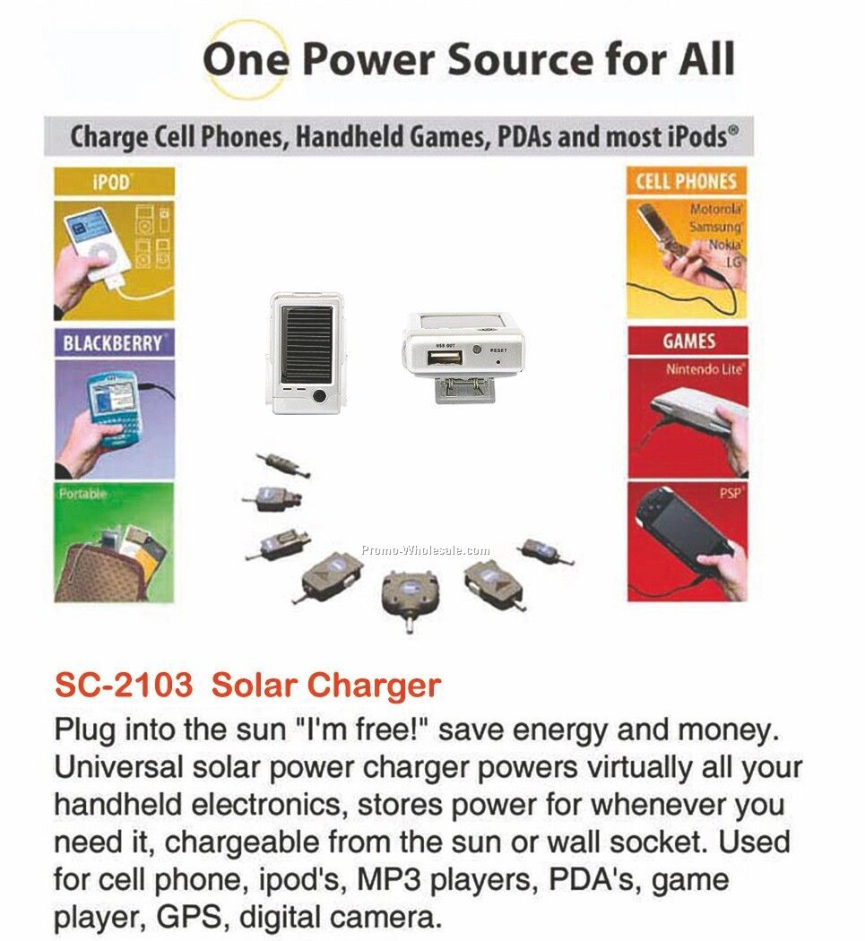 Solar Power Charger, Powers Cell Phones, Mp3 Players