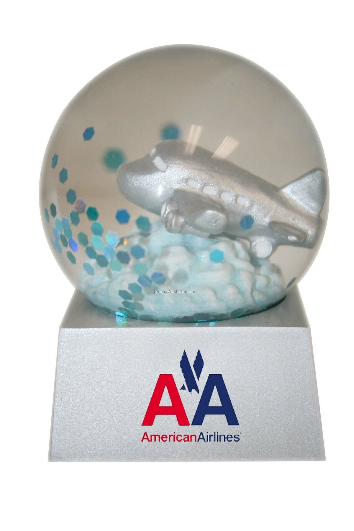Stock Airplane Snow Globe