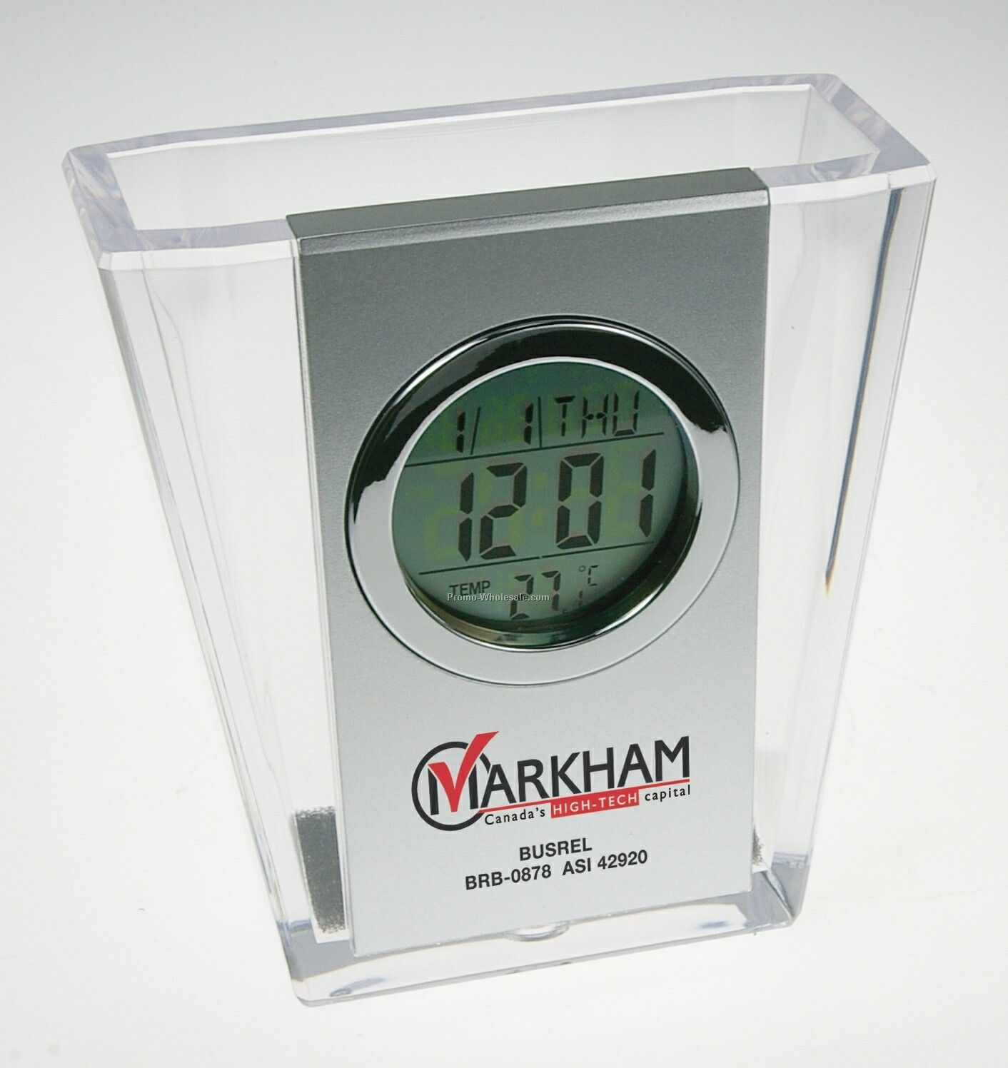 Transparent Acrylic Pen Holder W/ Clock, Calendar & Thermometer
