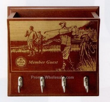 Vintage Golf Scene Key & Mail Holder