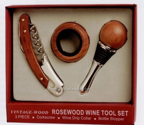 Vintage Wood Corkscrew, Drip Collar And Bottle Stopper 3 Piece Set
