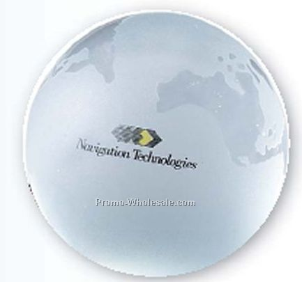 White Frosted World Globe Paperweight (Screen Printed)