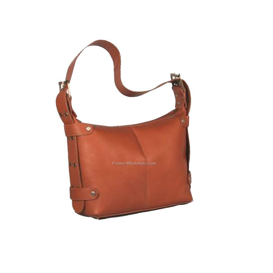 Wide Strap Handbag With Eyelets