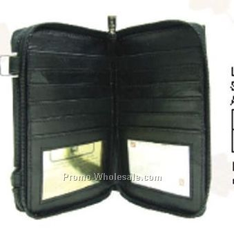 17-3/10cmx11cmx5cm Ladies Black Cowhide Checkmate Organizer Neck Wallet