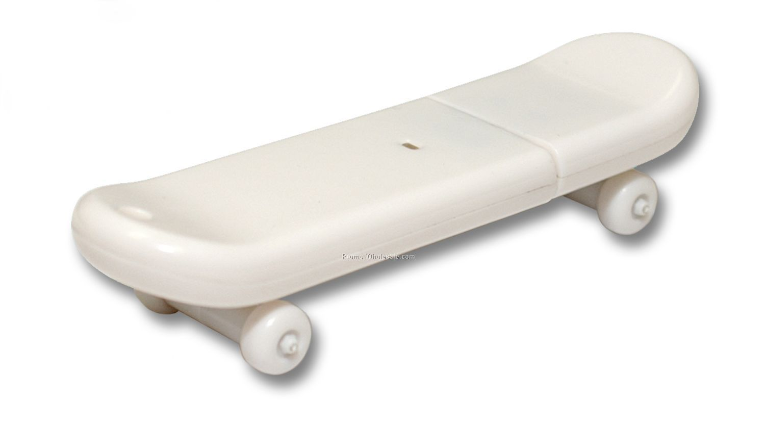 1gb USB 2.0 Skateboard Flash Drive - Rubber Coated White