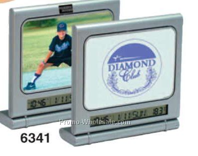 2 Sided Photo Clock & Magnetic Memo Board