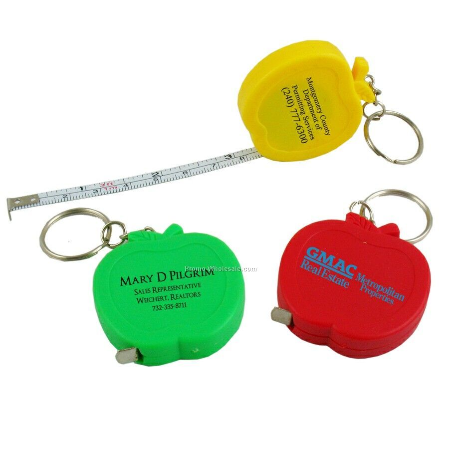 3' Apple Tape Measure W/Key Chain