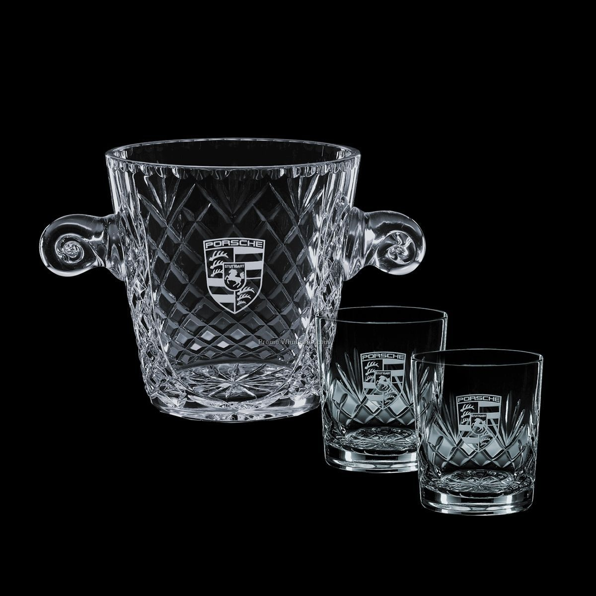 "5-1/2"" Medallion Crystal Ice Bucket & 2 On-the-rocks Glasses"
