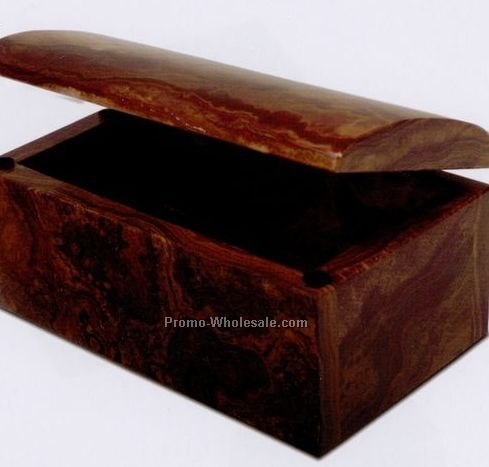 "5-1/2""x2-1/2""x3-1/4"" Treasure Box - Swirl Amber Onyx"