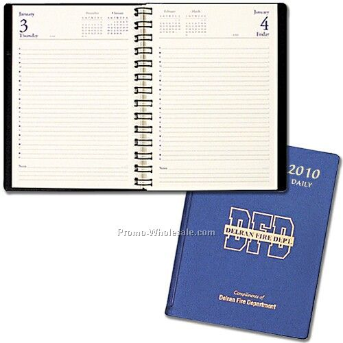 "5-1/2""x8-1/2"" Daily Classic Diary W/ Frosted Vinyl Cover"