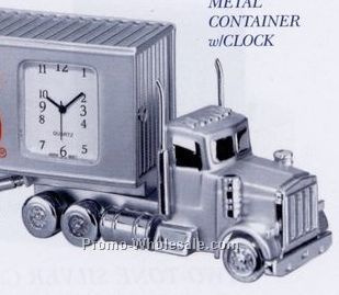"5-3/4""x1-1/4""x2-1/4"" Metal Container Truck Clock"