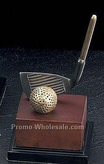"7-3/4"" The Club Trophy Golf Classic Sculpture With Burl Wood Wood Base"