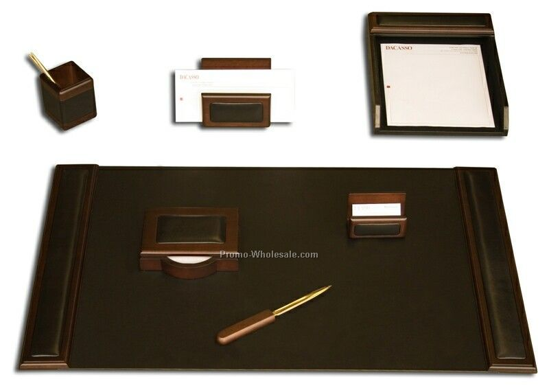 7-piece Wood & Leather Desk Set - Walnut Trim