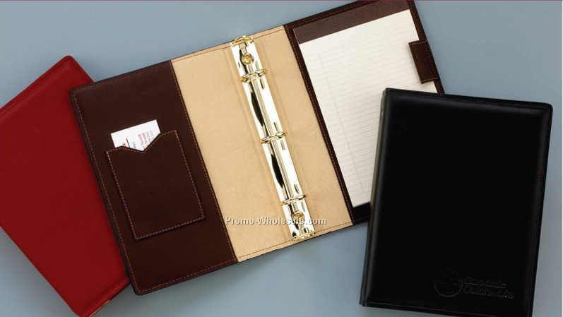 "7""x9"" Business Leather Half Sheet Binder W/ 3 Rings"