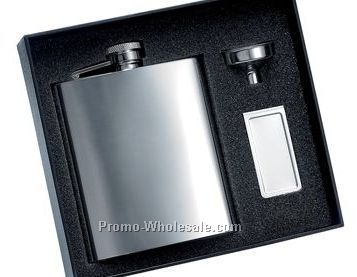 8 Oz Polished Finish Stainless Steel Flask And Matching Money Clip With Sil