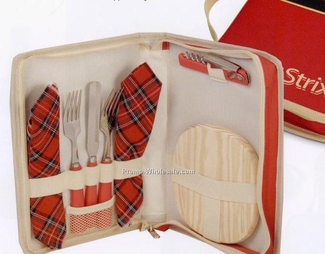 "8""x11""x1-5/8"" Red Wine & Cheese Travel Set"