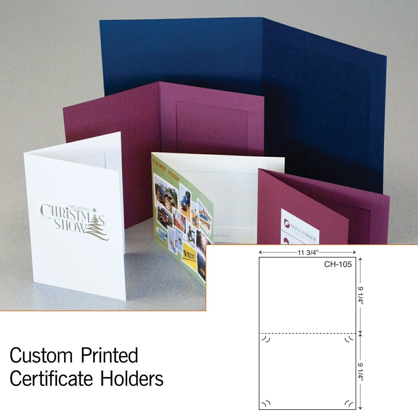 "9-1/4""x11-3/4"" Certificate Holder W/ Die Cut Slit (1 Color)"