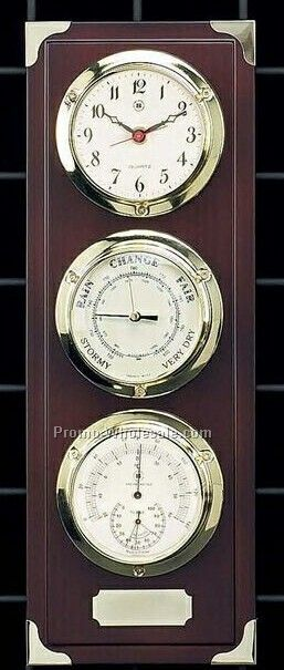 Brass Clock, Barometer, Thermometer & Hygrometer On Mahogany