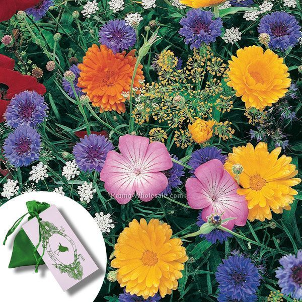 Butterfly Seed Mix In Satin Bag With 4-color Tag