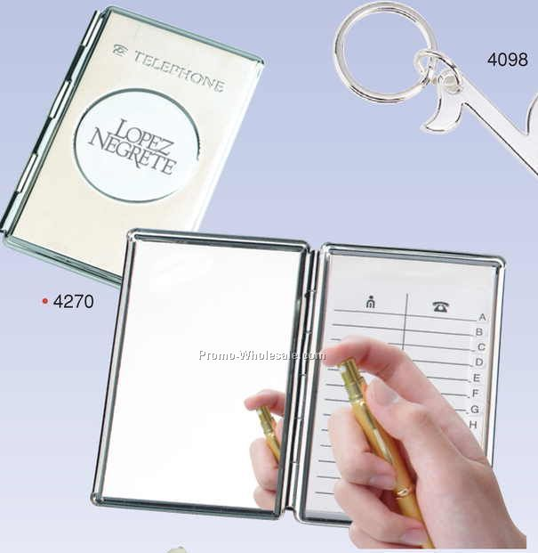 Chrome Cover Telephone & Address Book W/ Mirror (Engraved)