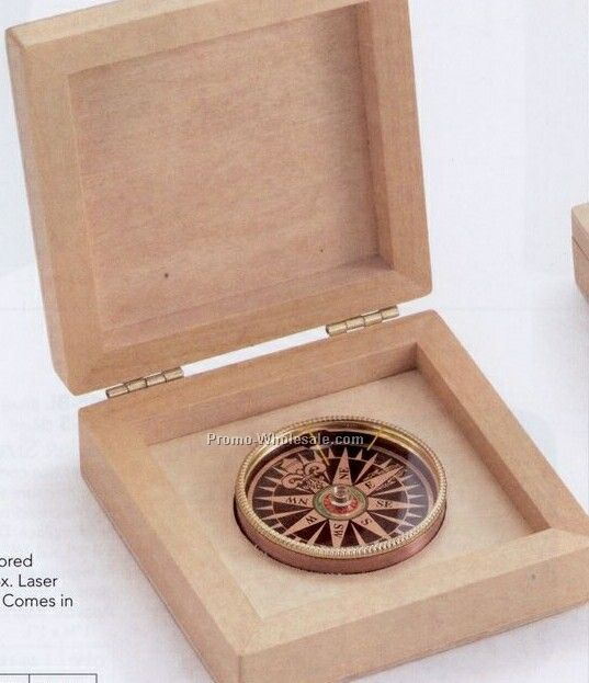 Desk Compass In Sturdy Wood Box