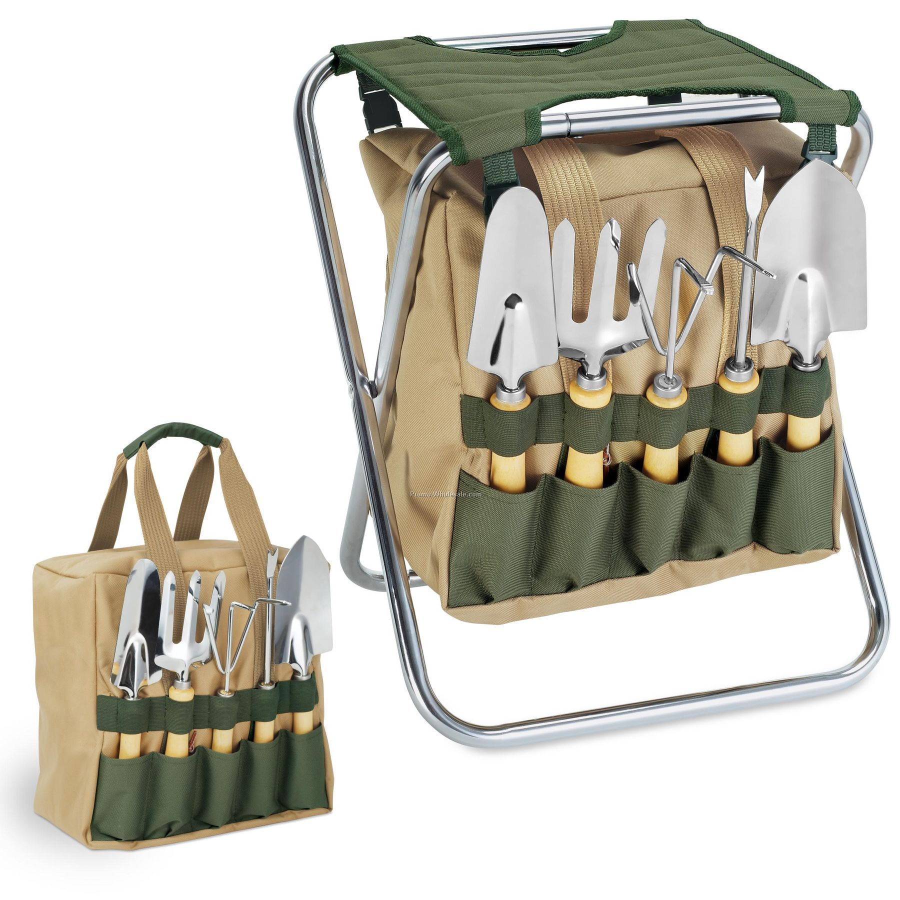 Gardener Folding Chair With 5 Gardening Tools