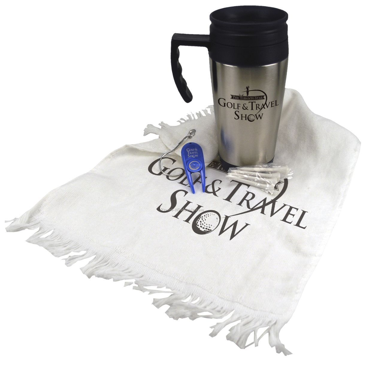 Golf Gift Set (14 Oz. Steel Budget Mug/ Divot Tool/ 4 Tees/ Towel)