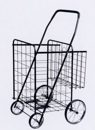 Large Metal Shopping Cart W/Extra Rear Basket