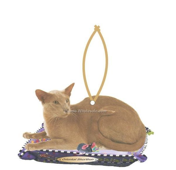 Oriental Shorthair Cat Executive Line Ornament W/ Mirrored Back (6 Sq. In.)